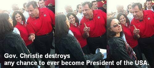 "Gov. Christie yelling at an ""opponent,"" public school teacher and BAT activist, Melissa Tomlinson (http://www.slate.com/blogs/weigel/2013/11/04/behind_that_photo_of_chris_christie_wagging_his_finger_at_a_teacher.html)."
