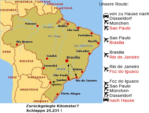 Kasimirs, Cäsars und Fredis Stationen in Brasilien