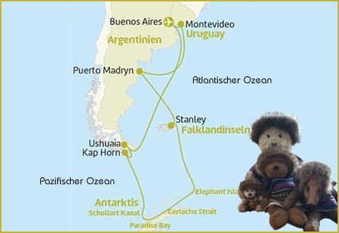 Kasimir, Cäsar, Fredi und Kerl auf ihrer Reise in die Antarktis