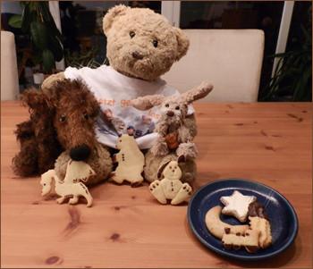 Kasimir, Cäsar und Fredi präsentieren ihre Weihnachtsplätzchen