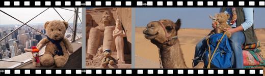 Kasimir und Cäsar auf dem Empire State Building in New York und in Ägypten, dort vor den Statuen  Abu Simbels und bei ihrem Kamelritt