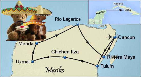 Kasimir, Cäsar, Fredi und Kerl auf ihrer Reise in Yucatán, Mexiko
