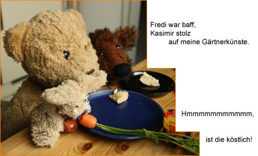Cäsar geniesst im Kreis seiner Freunde, Kasimir und Fredi, seine erste Möhre, hmmm, lecker
