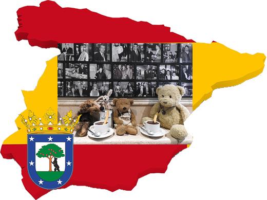 Kasimir, Cäsar, Fredi und Kerl essen Churros con chocolate im San Ginés, Madrid