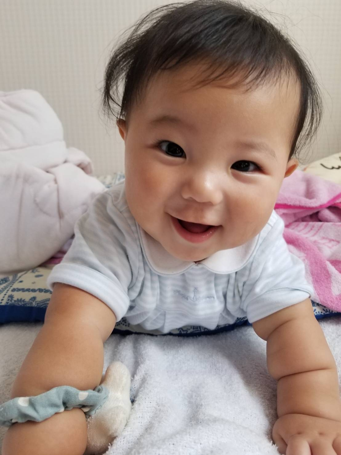 生後7カ月になった 園長第三子の橙和(とわ)です! チャームポイントはちぎりパンみたいな前腕です(笑)