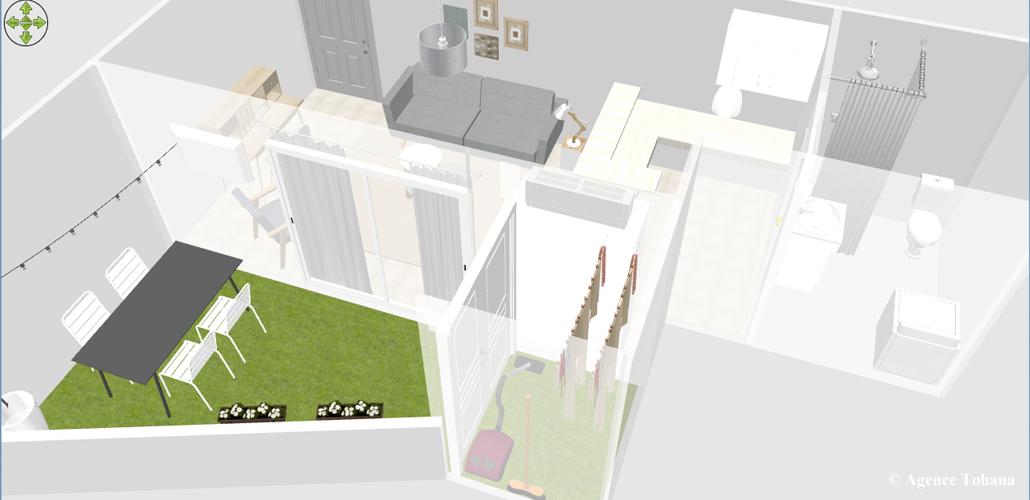 Vue 3D d'un appartement à Saint-Denis pour la location