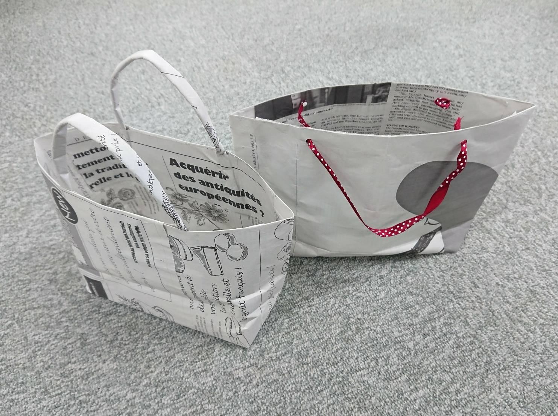 新聞紙で作るバッグ
