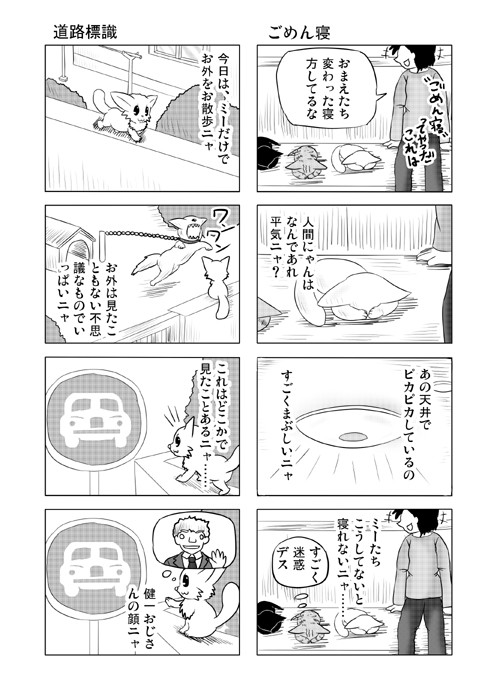ねこの日常を描いた四コマ漫画ミーのおもちゃ箱45p