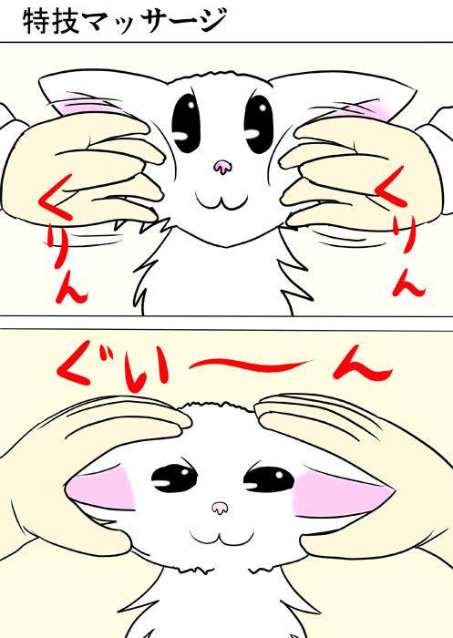 マッサージされるマンチカン猫 ふわもふ猫の日常四コマweb漫画287話1p