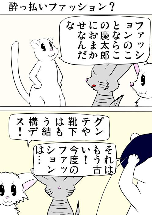 胸を張るフェレット ふわもふ猫の日常四コマweb漫画331話1p