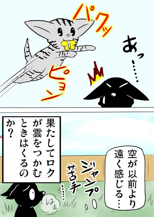 自分のジャンプ力の無さに落ち込む黒猫 ふわもふねこ四コマweb漫画ミーのおもちゃ箱174話2p