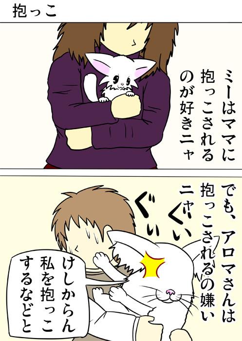 抱っこされるのを拒むメインクーン猫 ふわもふ猫の日常四コマweb漫画282話1p
