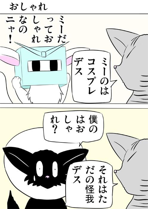 エリザベスカラーを巻いた黒猫 ふわもふ猫の日常四コマweb漫画332話1p
