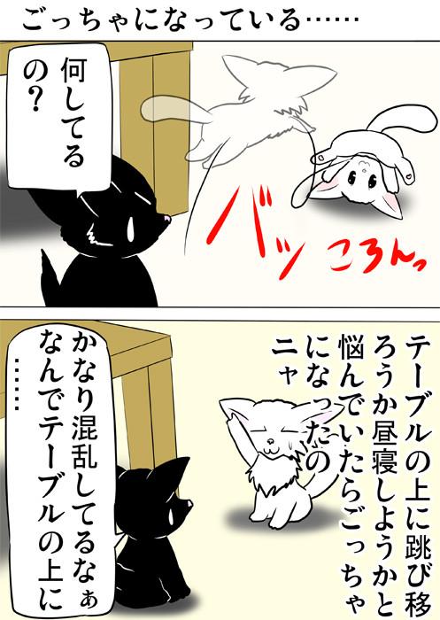 テーブルの前で跳んで転がるマンチカン猫 ふわもふ猫の日常四コマweb漫画328話1p