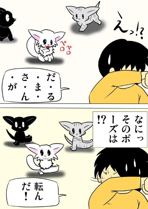 だるまさんがころんだで足をあげたポーズをとる子猫達 ふわもふ猫の日常四コマweb漫画289話2p