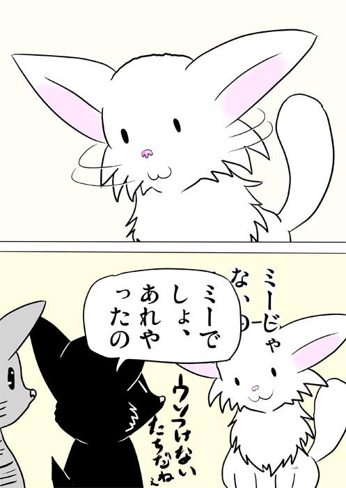 目が点になっているマンチカン猫 ふわもふ猫の日常四コマweb漫画337話2p