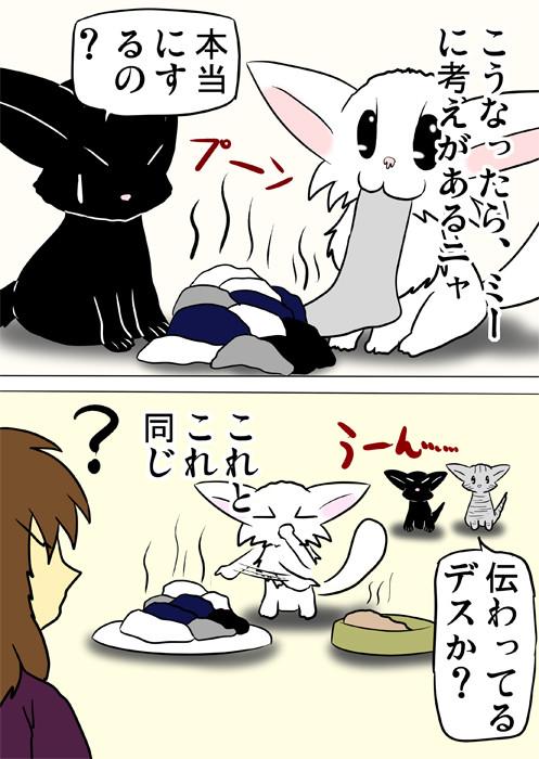 靴下の山と餌を交互に指さすマンチカン猫 ふわもふ猫の日常四コマweb漫画350話2p