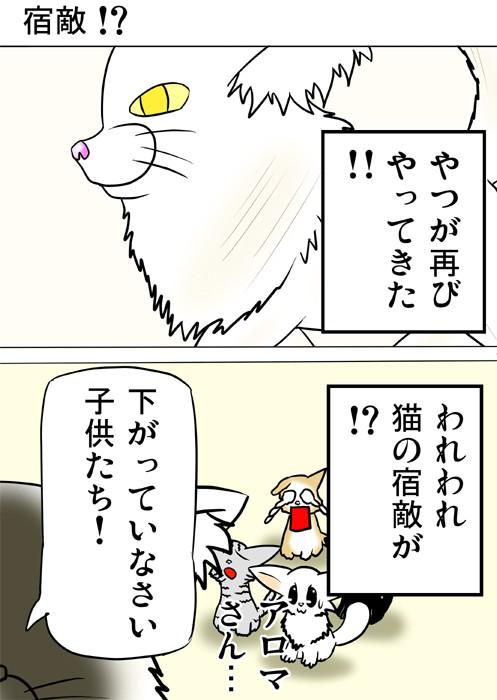 敵と戦いにむかうメインクーンネコ 猫四コマ漫画