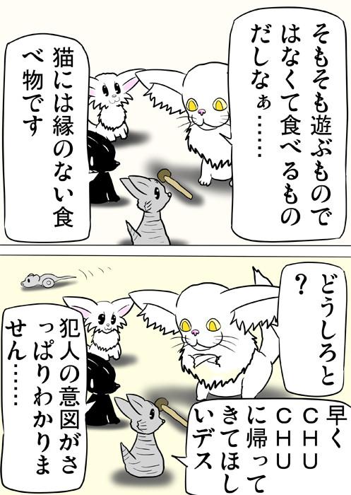 しめじを囲って話し合う猫たち ふわもふ猫の日常四コマweb漫画321話2p
