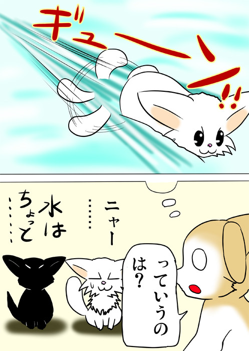 シッポをスクリュー代わりに泳ぐマンチカン猫のイメージ ふわもふ猫の日常四コマweb漫画233話2p