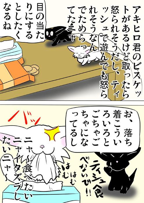 ティッシュを食べるマンチカン猫 ふわもふ猫の日常四コマweb漫画328話2p