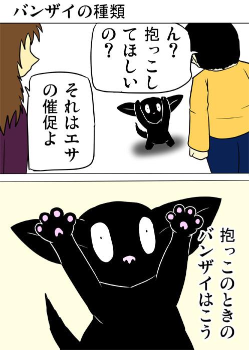 少年に向かって両前足を上げる黒猫 ほのぼの・ふわもふ猫の日常四コマweb漫画356話1p
