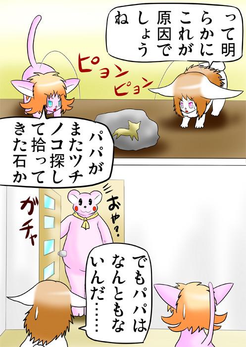 猫の形が描かれた石を睨む子猫と子ウサギ