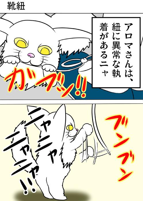 靴紐に熱心にじゃれるメインクーン猫 ふわもふ猫の日常四コマweb漫画208話1p