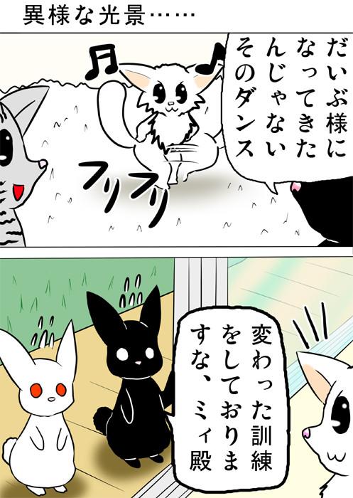 マンチカンがダンスの練習をしているとき、ウサギたちが訪問 猫四コマweb漫画170話1p
