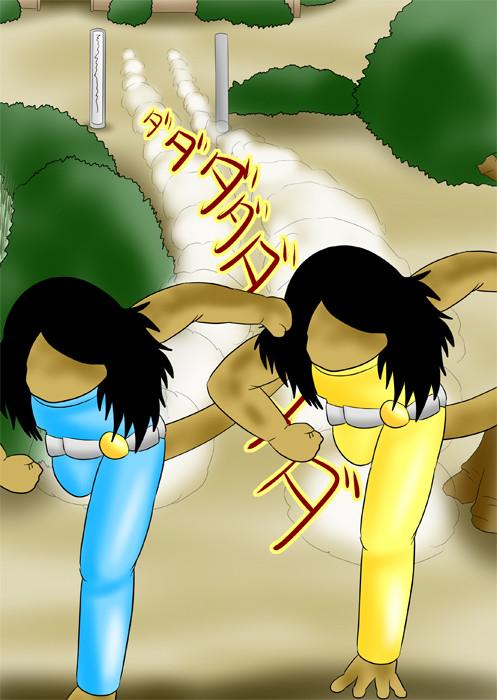 走る水色と黄色のラバースーツのヤモリ女