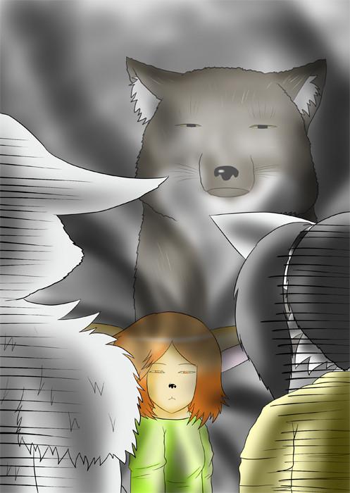 犬ショタっこの背後にチベットスナギツネ ふわもふケモノ家族連載web漫画第四十六話19p