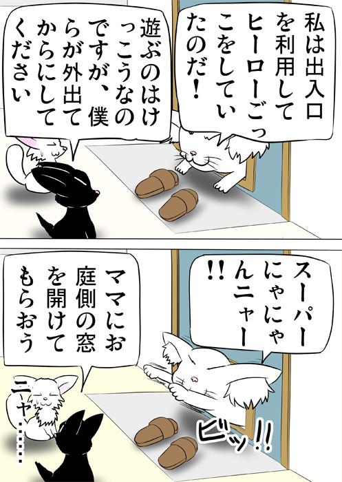 猫用出口に挟まっているメインクーン猫 ふわもふ猫の日常四コマweb漫画311話2p