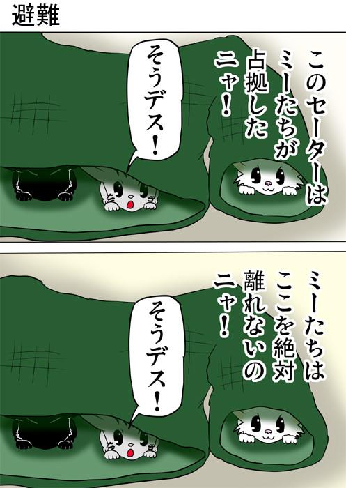 セーターにこもる子猫たち ねこ四コマ漫画