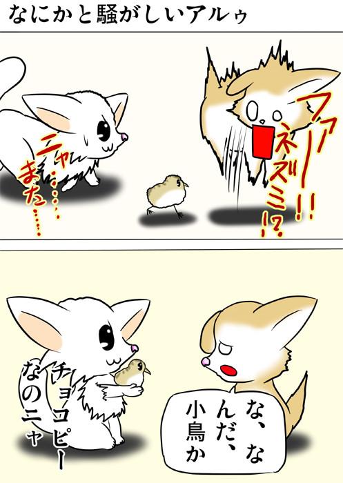 うずらのヒナをネズミと間違えるスコティッシュフォールド猫 ふわもふ猫の日常四コマweb漫画219話1p