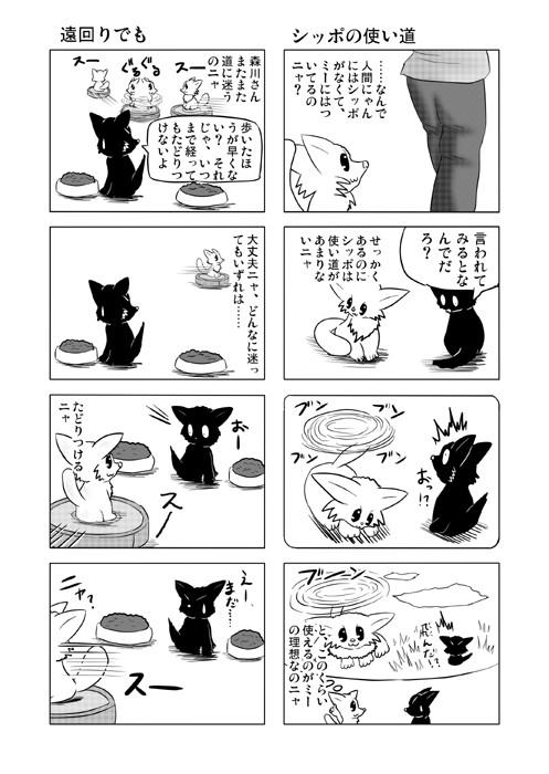 ねこの日常を描いた四コマ漫画ミーのおもちゃ箱50p