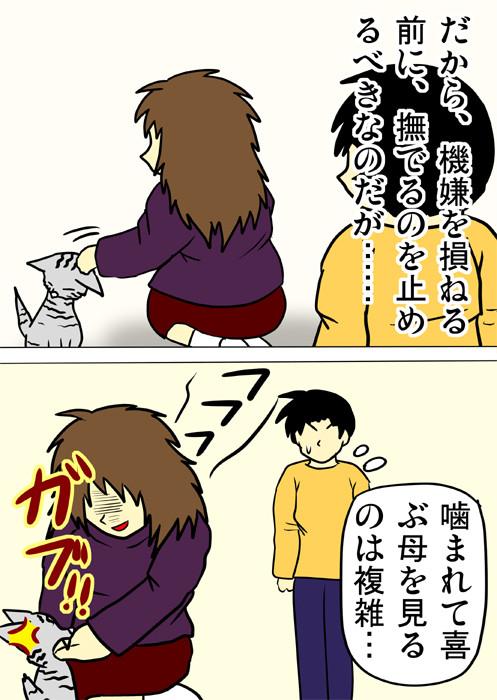 ネコにかまれて喜ぶ母をみて複雑な気持ちの少年 ネコ四コマ漫画164話2p