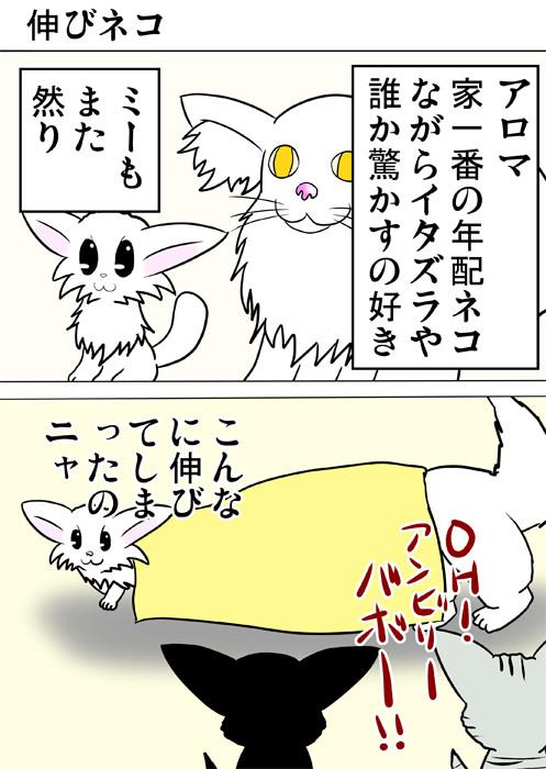 体が伸びたと嘘をつくマンチカン猫 ふわもふ猫の日常四コマweb漫画276話1p