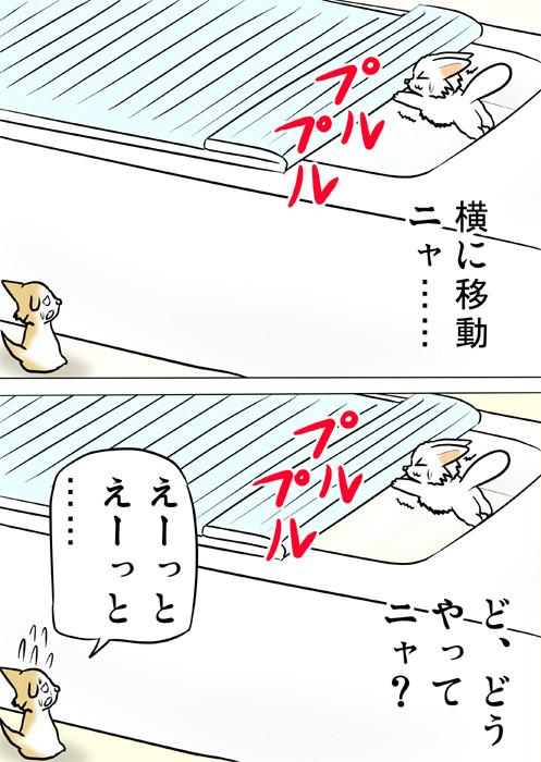 風呂のふたが開いて落ちそうになるマンチカン 猫四コマ漫画166話2p