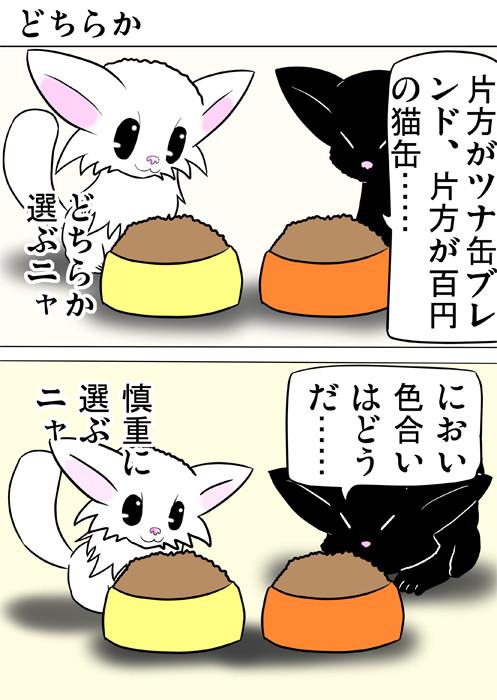 どちらが高級なエサか見定めようとする子猫達 ふわもふ猫の日常四コマweb漫画283話1p