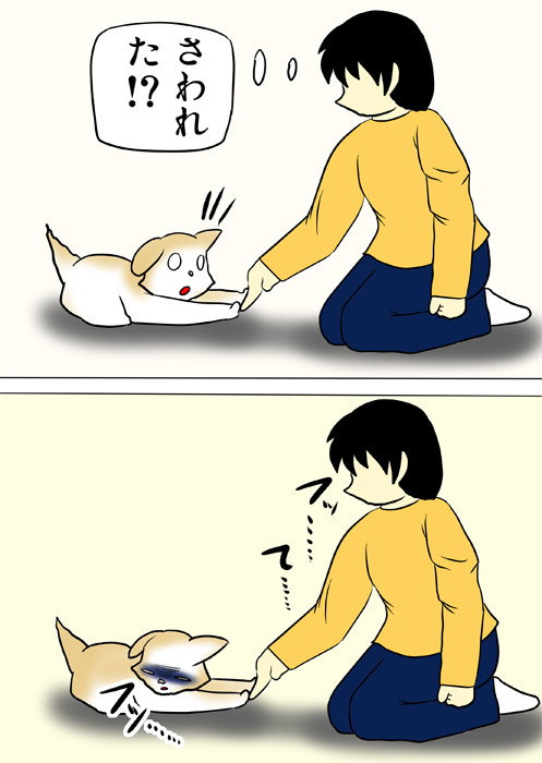 スコティッシュフォールド猫の前足に触れる少年 ふわもふ猫の日常四コマweb漫画329話2p
