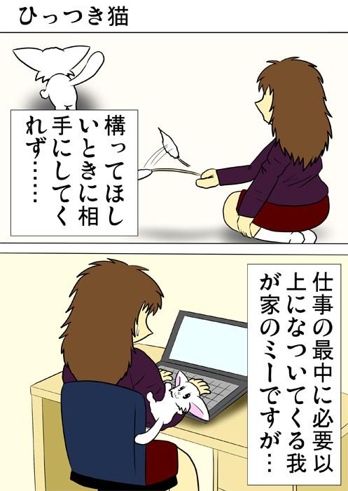 飼い主の腕にひっつくマンチカン猫 ふわもふ猫の日常四コマweb漫画313話1p