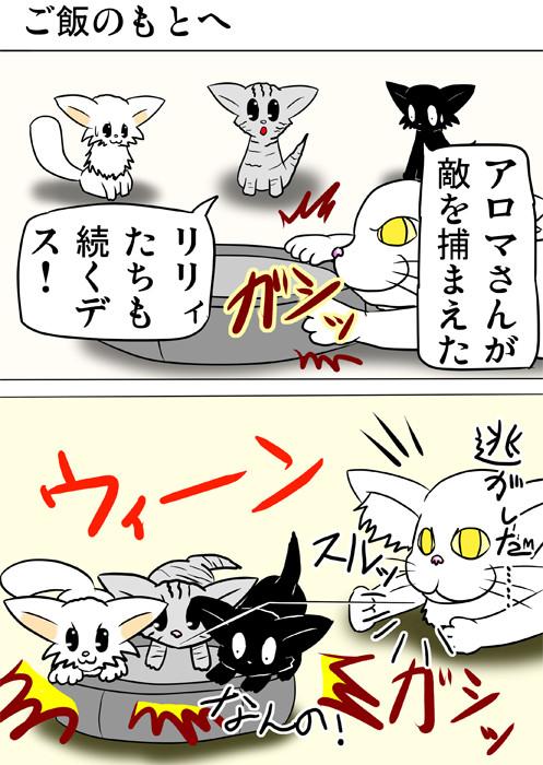 ロボット掃除機を捕まえようとする猫たち ふわもふ猫の日常四コマweb漫画235話1p