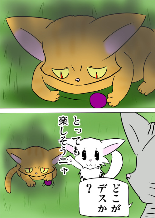鋭い目つきでボールにじゃれる目つきの悪い猫 ほのぼの・ふわもふ猫の日常四コマweb漫画360話2p