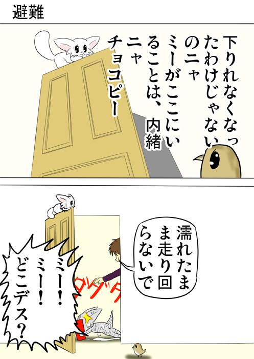 ドアの上に避難するマンチカン猫 ふわもふ猫の日常四コマweb漫画285話1p
