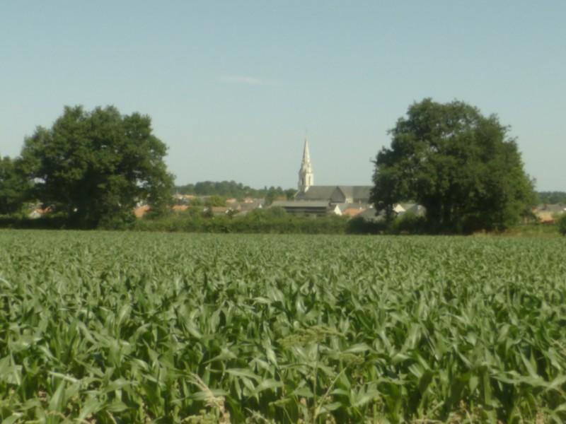Au loin église de saint-Laurent-de-la-plaine