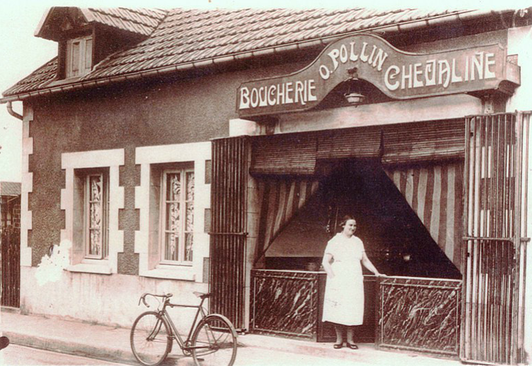 Boucherie Pollin - rue J Jaurès - Collection M.G Henri