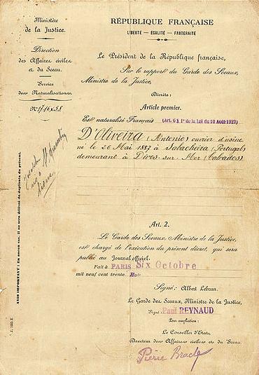 Naturalisation de J. D'Oliveira Collection D'OLIVEIRA Jean