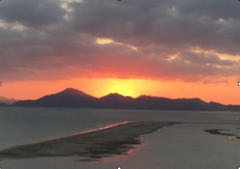 夕陽に映える河口