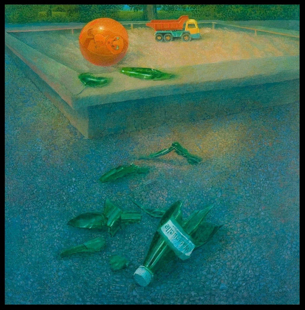 Am Spielplatz, On the Playground),70x70cm
