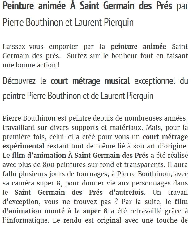 Extrait d'une page sur le site Laurent Pierquin